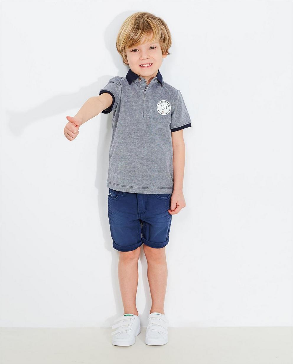 Poloshirt mit Aufnäher - in Dunkelblau-Weiß - JBC